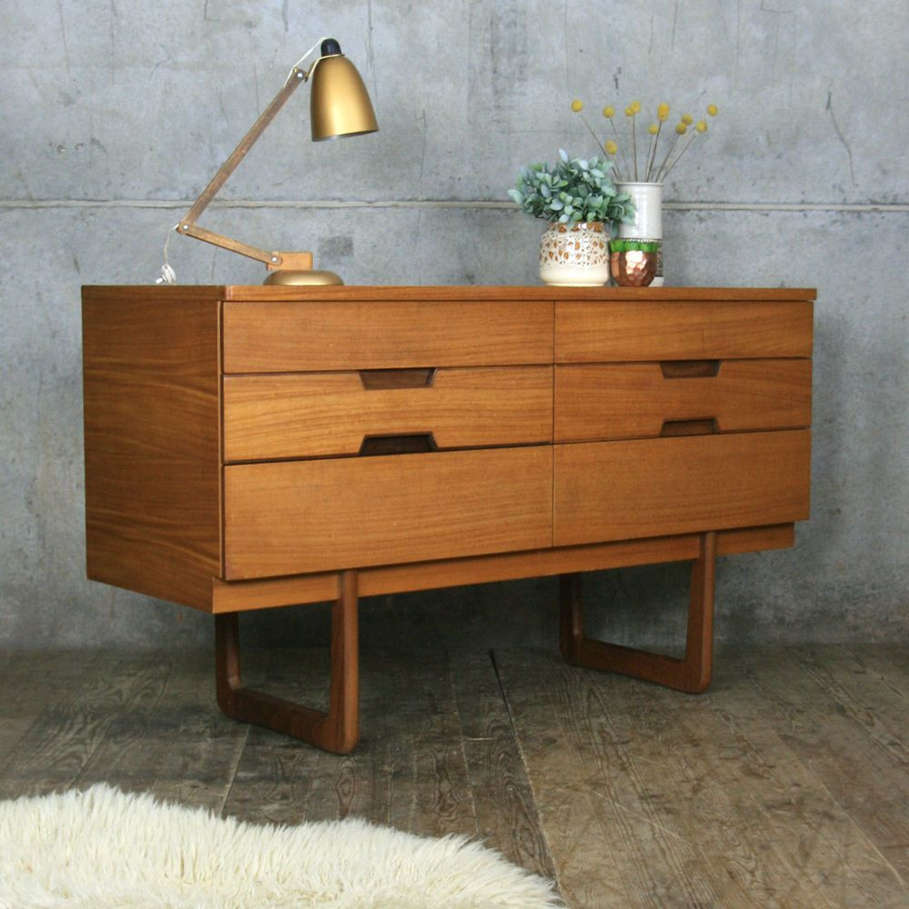 Mid Century Vintage Uniflex Lowline Chest Of Drawers Set 1  # Rewind Muebles Vintage