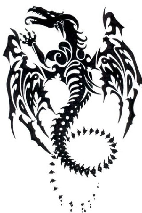 Awesome Tribal Dragon Tattoo Going On My Shoulderblade