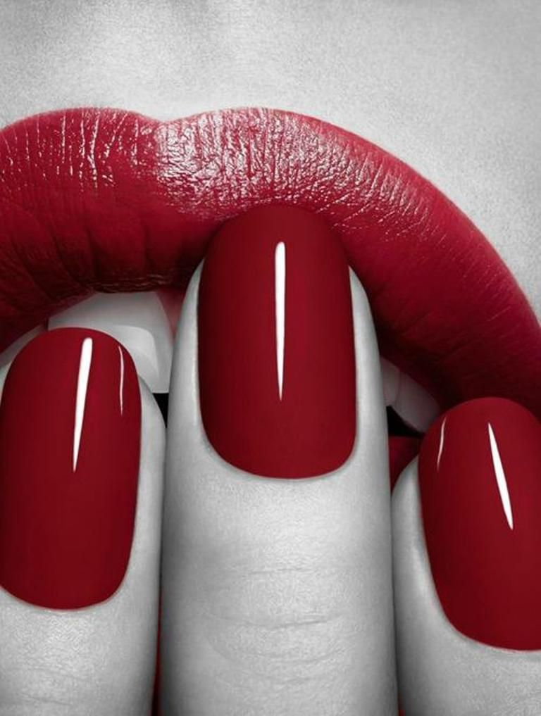 Dark Red Lips And Nails Red Nails
