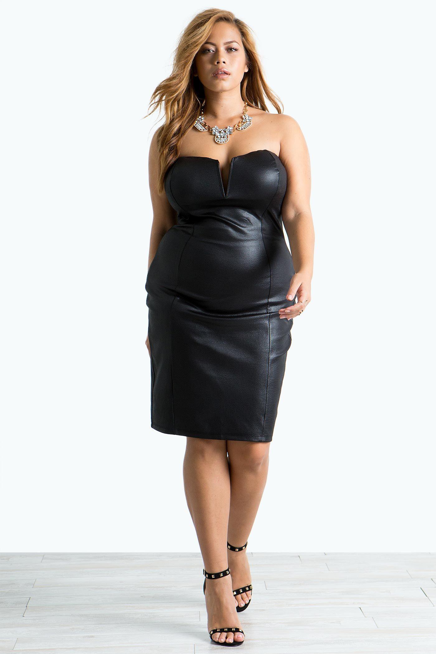 Women\'s Plus Size Bodycon Dresses | Draya Coated Bustier Dress | A ...