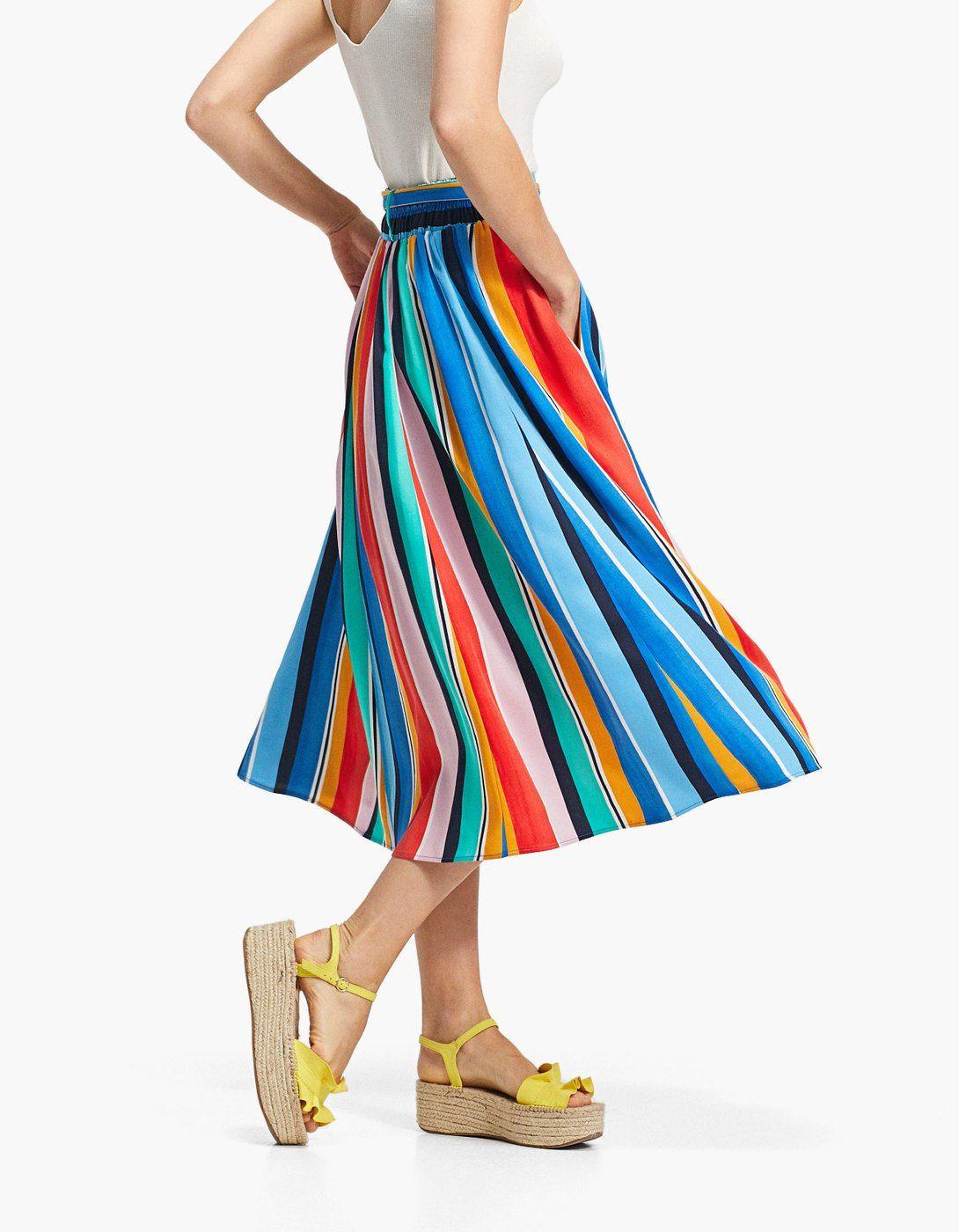 0d41f42562a12c W2018 Spódnica w kolorowe paski z wiązaniem - Spódnice | Stradivarius Polska