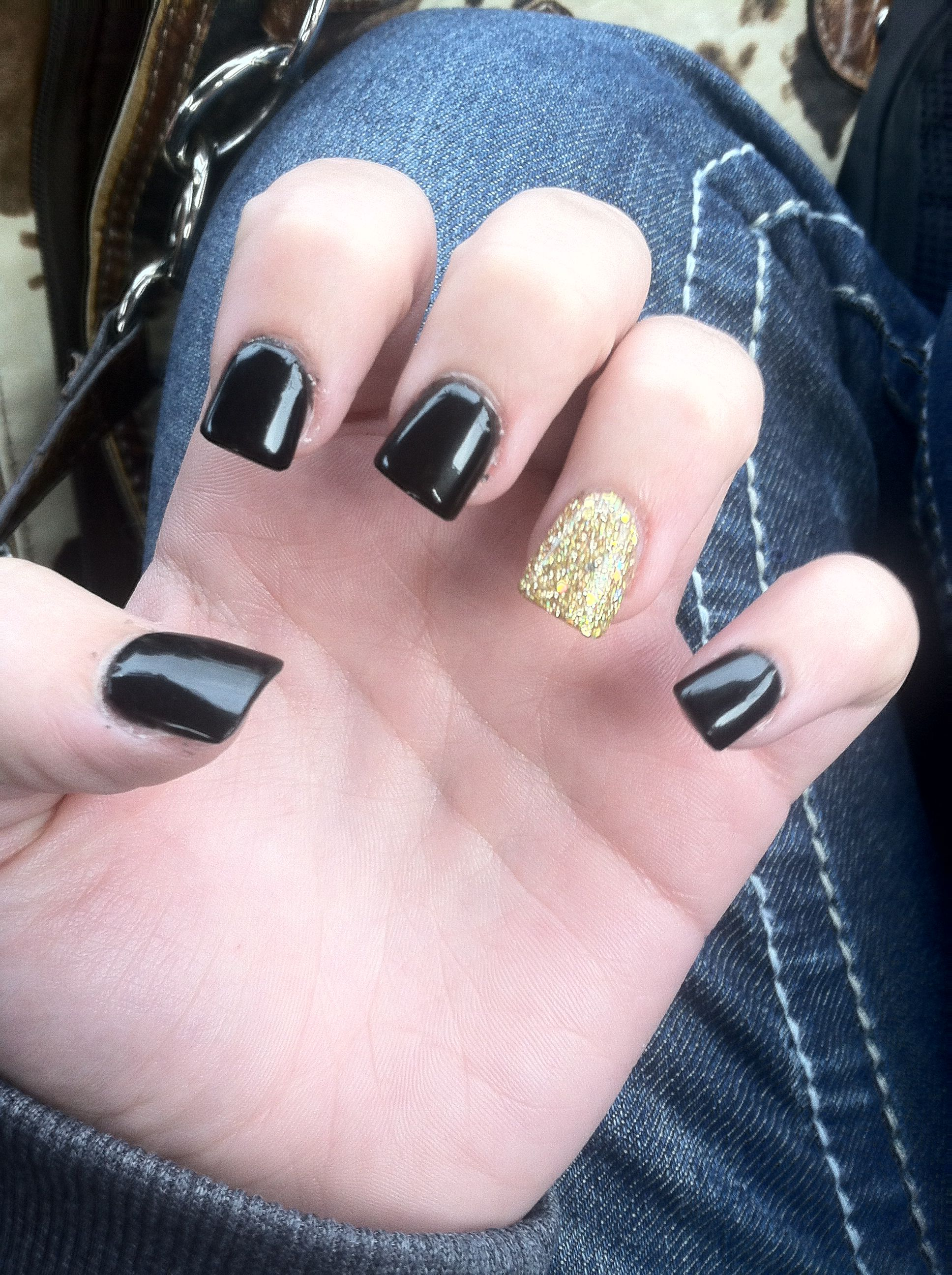 Black And Gold Nails Saints Nails Pinterest Us