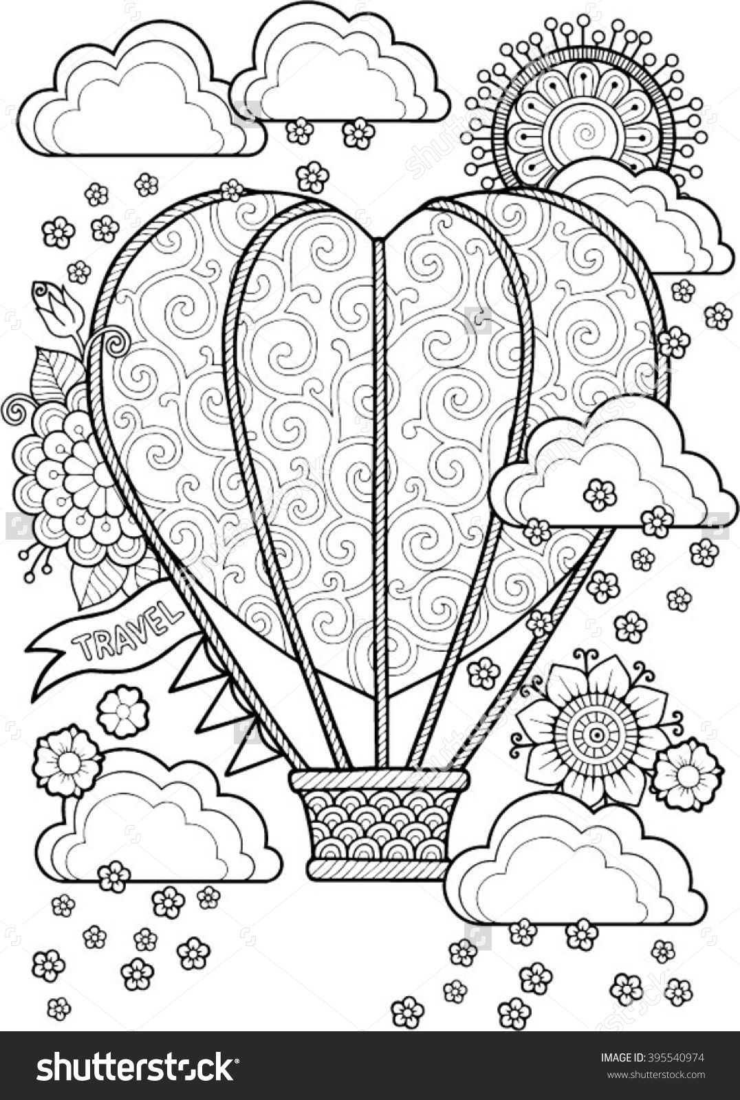 Coloring pages for adults valentines day - Journey In A Balloon Valentines Day Coloring Book For Adult I Love You