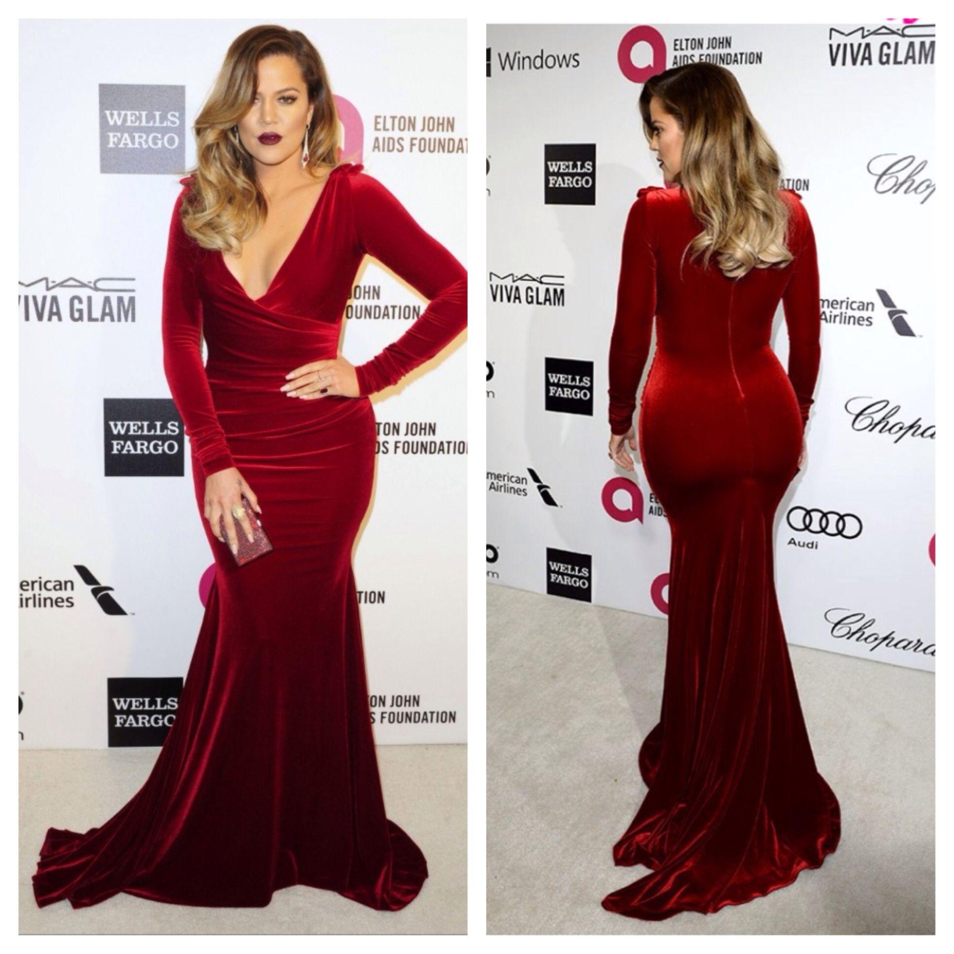 Chloe kardashian in a red velvet gown bridesmaid dresses