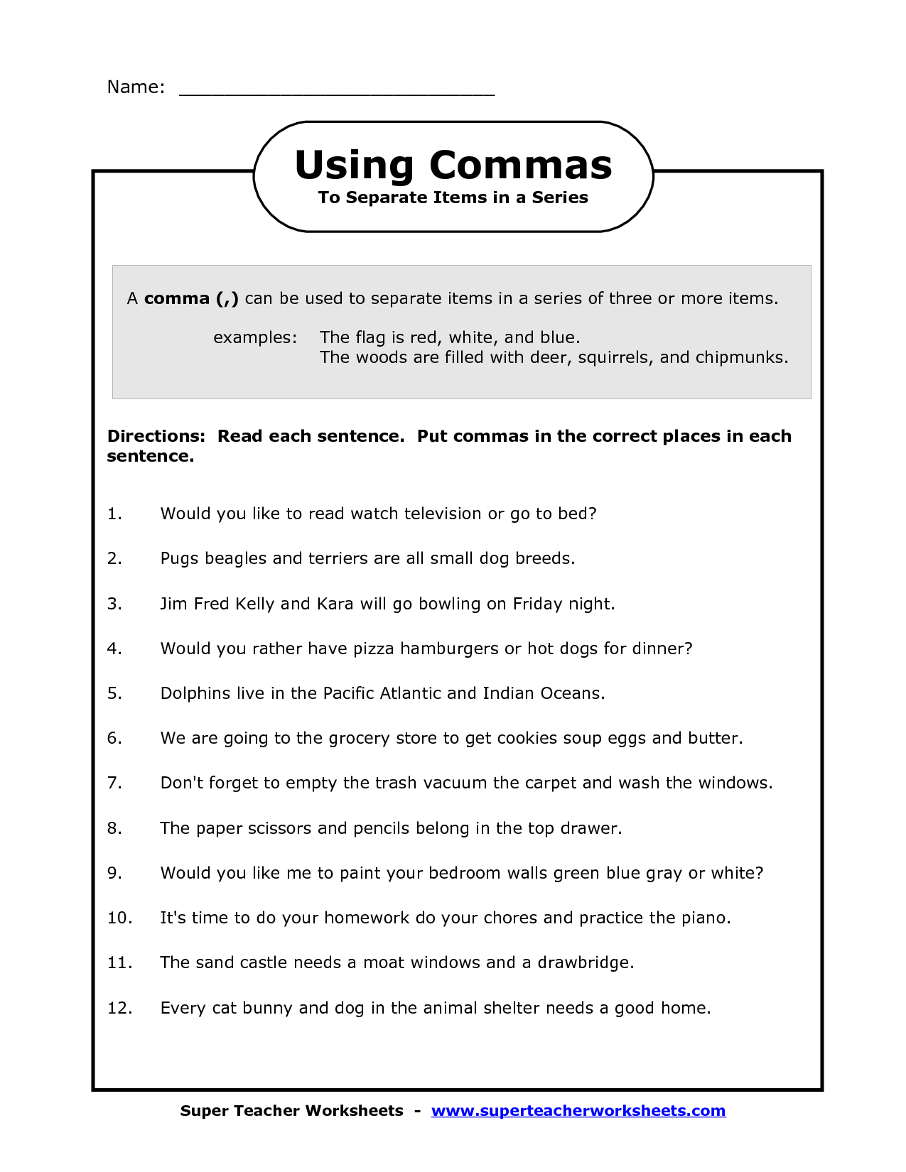 comma in a series worksheets image   Commas in a Series Worksheet   Punctuation  worksheets [ 1650 x 1275 Pixel ]