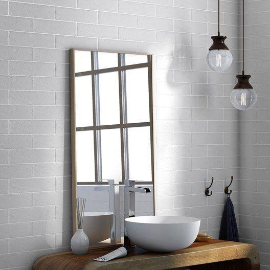 Carrelage sol et mur blanc, Indus l6 x L25 cm salle de bain