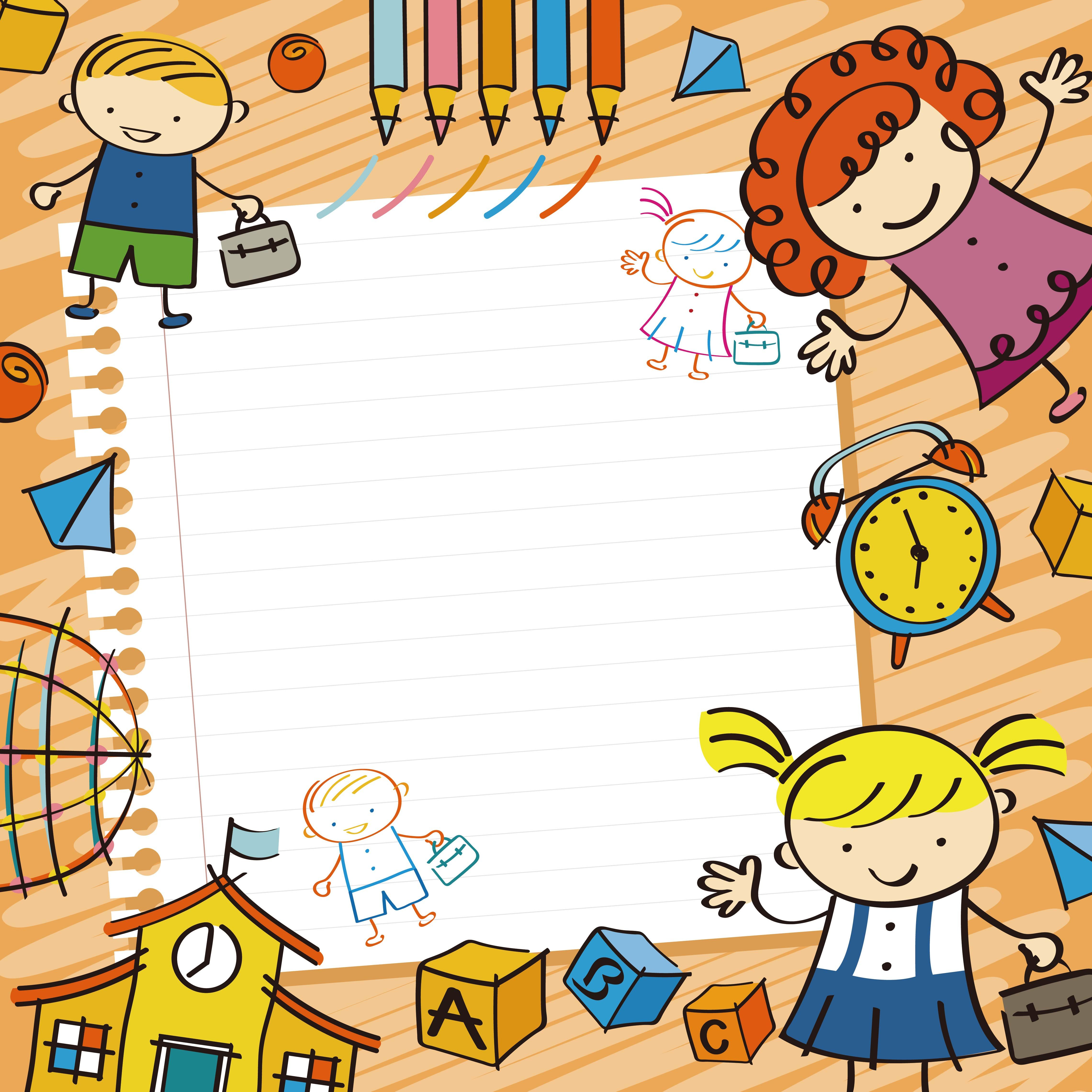 Vector Cartoon Background Early Childhood Education Cartoon Background Teacher Cartoon Education Poster Design