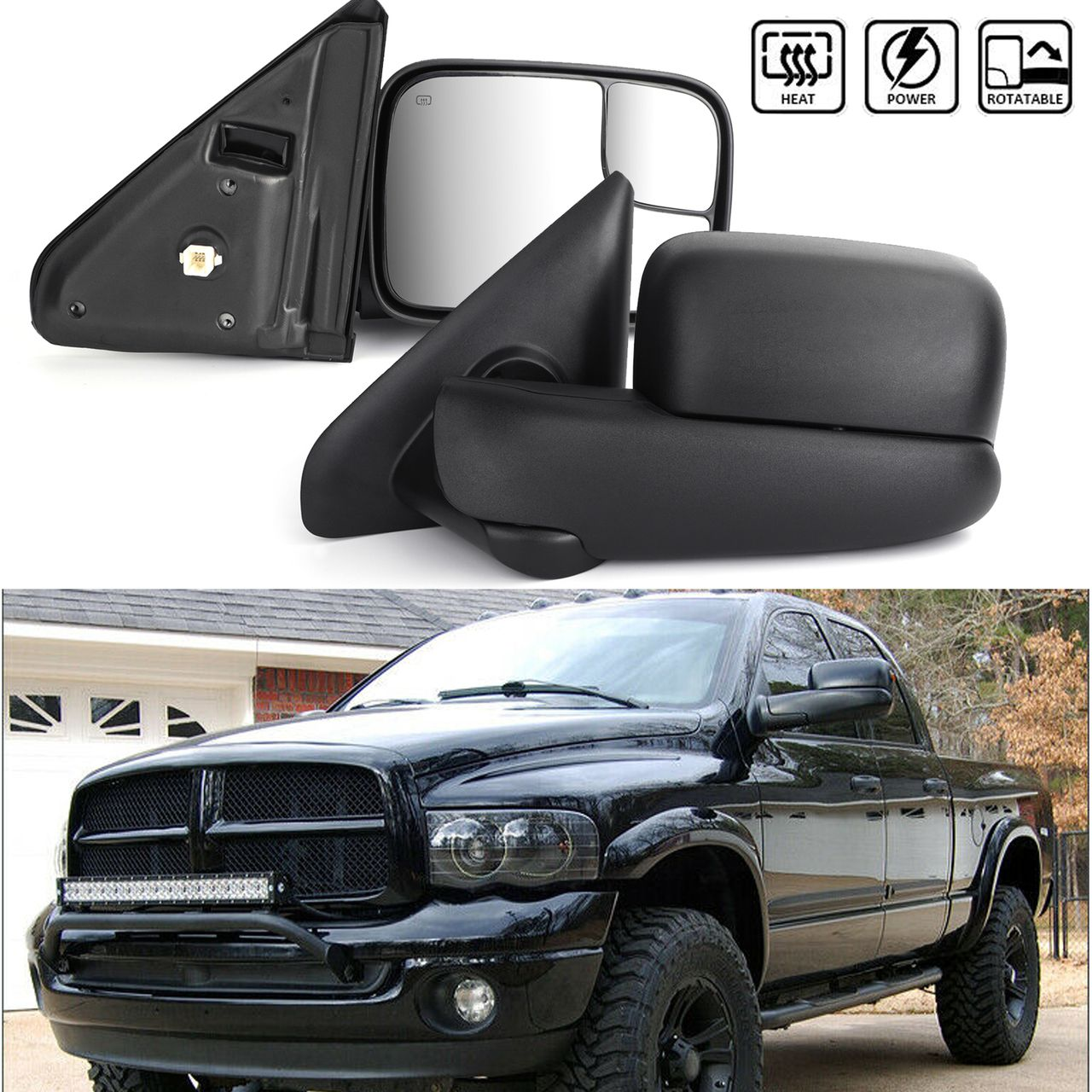 Mad Hornets Power Heated Tow Mirrors Extendable For Ram 1500 2500 3500 2002 03 04 05 06 07 2008 298 99 Http Www Madho Ram 1500 Side Mirror Towing Mirror