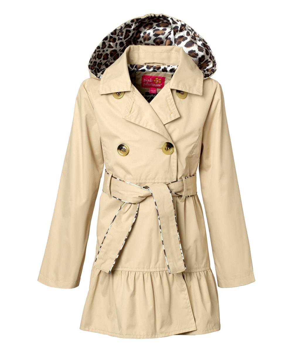 5388248afd61 Khaki Hooded Ruffle Trench Coat - Toddler   Girls
