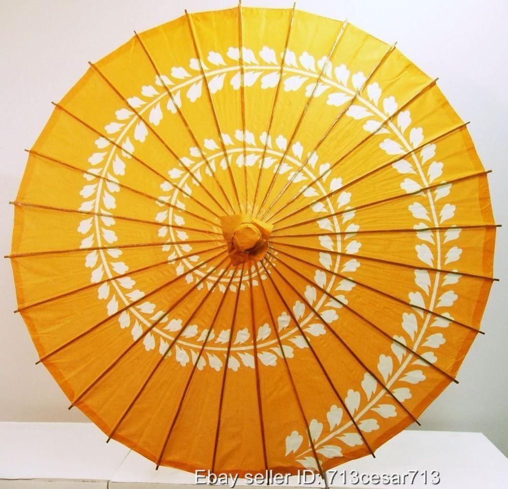 Orange Anese Oriental Paper Bamboo Parasol Umbrella Kasa Swirl Decoration O