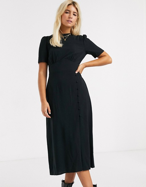 Asos Design Midi Tea Dress With Buttons And Split Detail In Black Asos In 2020 Black Dresses Classy Tea Dress Dresses