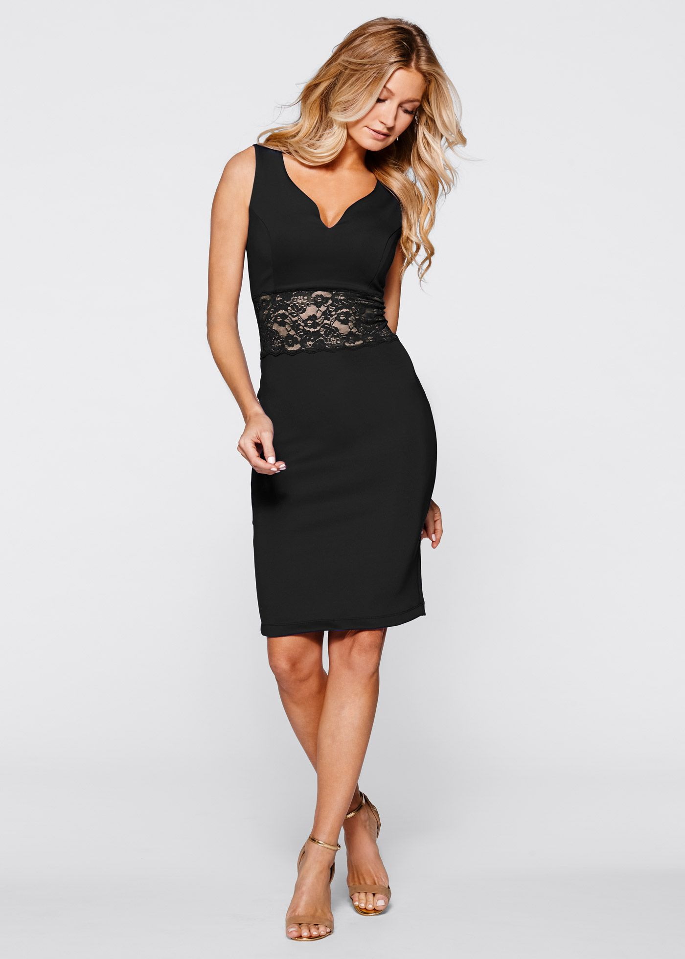 ae653e2fb24efe Jurk zwart lichtbruin - BODYFLIRT boutique nu in de onlineshop van bonprix.nl  vanaf   37.99 bestellen. Musthave voor elke kleerkast!