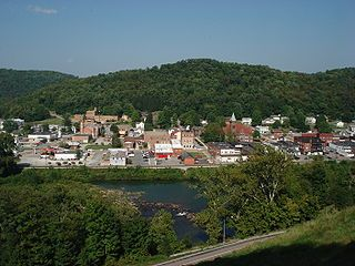 Philippi, West Virginia, USA, from across the Tygart Valley River. The view includes the Philippi Historic District and the Barbour County Courthouse (just ...