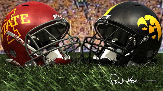 Battle For The Cy Hawk Trophy Iowa Vs Iowa State Iowa Hawkeye Football Iowa State Football Game Iowa State Athletics
