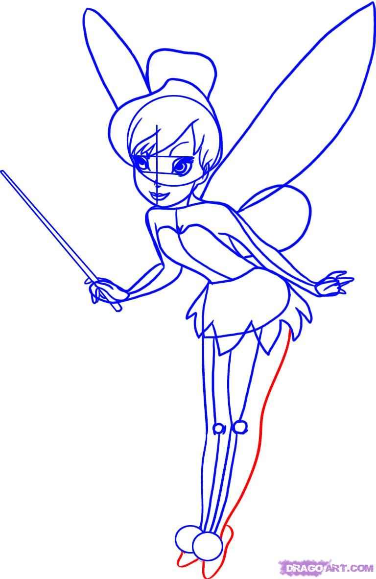 Uncategorized Drawing Of Tinkerbell how to draw disney cartoons learn tinkerbell step 7 7