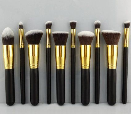 BESTOPE 10 Pcs Premium Synthetic Kabuki Makeup Brush Set Cosmetics Foundation Blending Blush Eyeliner Face Powder Brush Makeup Brush Kit