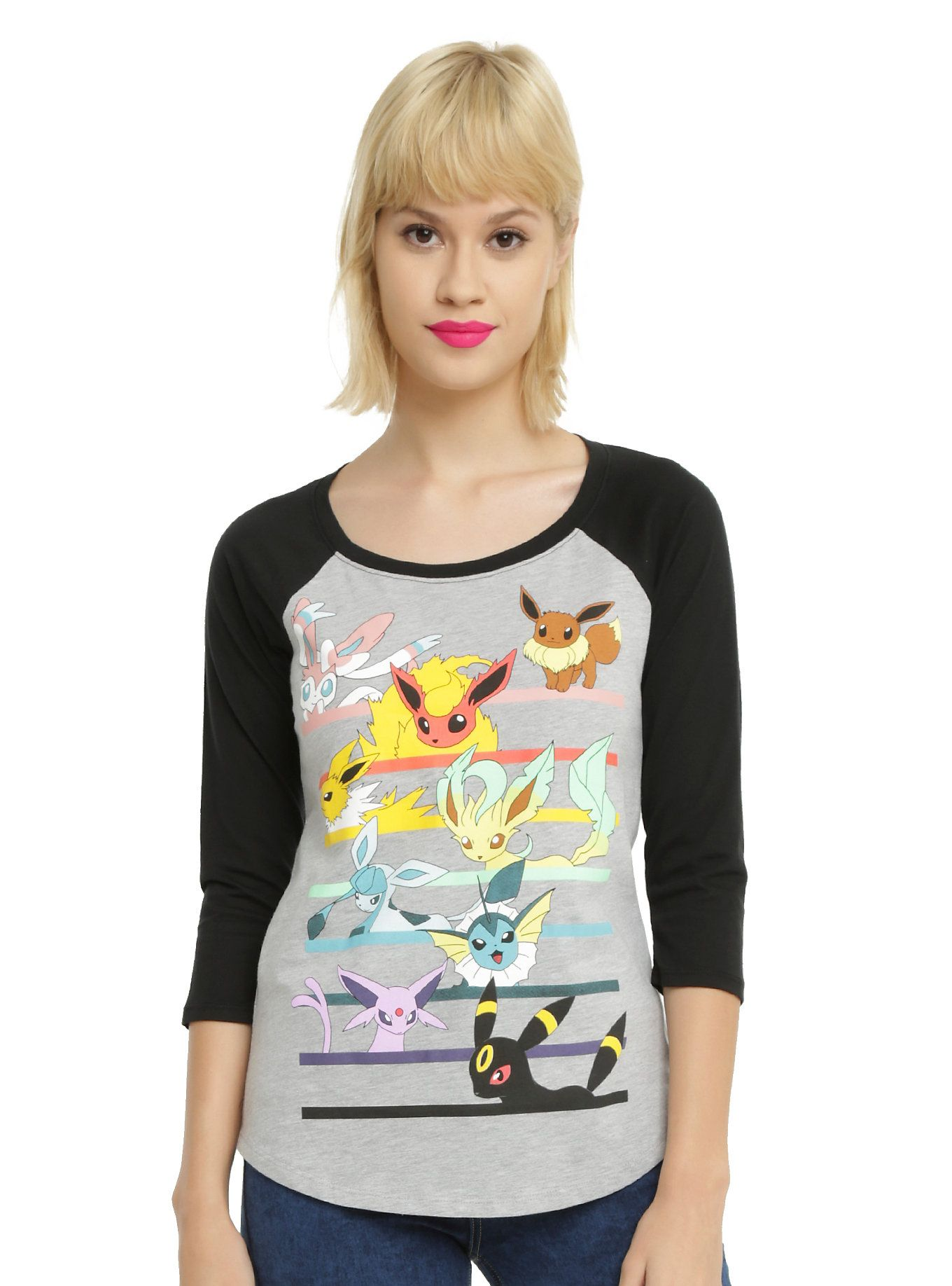 ea94d81b Pokemon Eevee Evolution Characters Girls Raglan | Hot Topic Pokemon Craft,  Pokemon Plush, My
