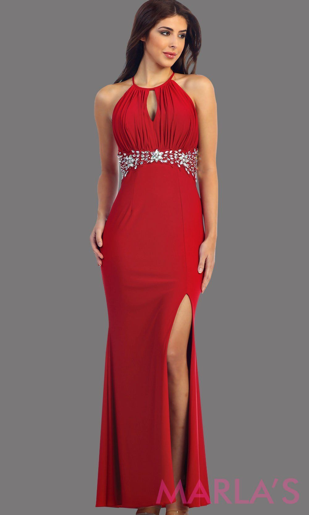 6210c71887b Long red fitted dress with high slit. This is a perfect sleek and sexy red prom  dress, wedding guest dress, and long party dress.
