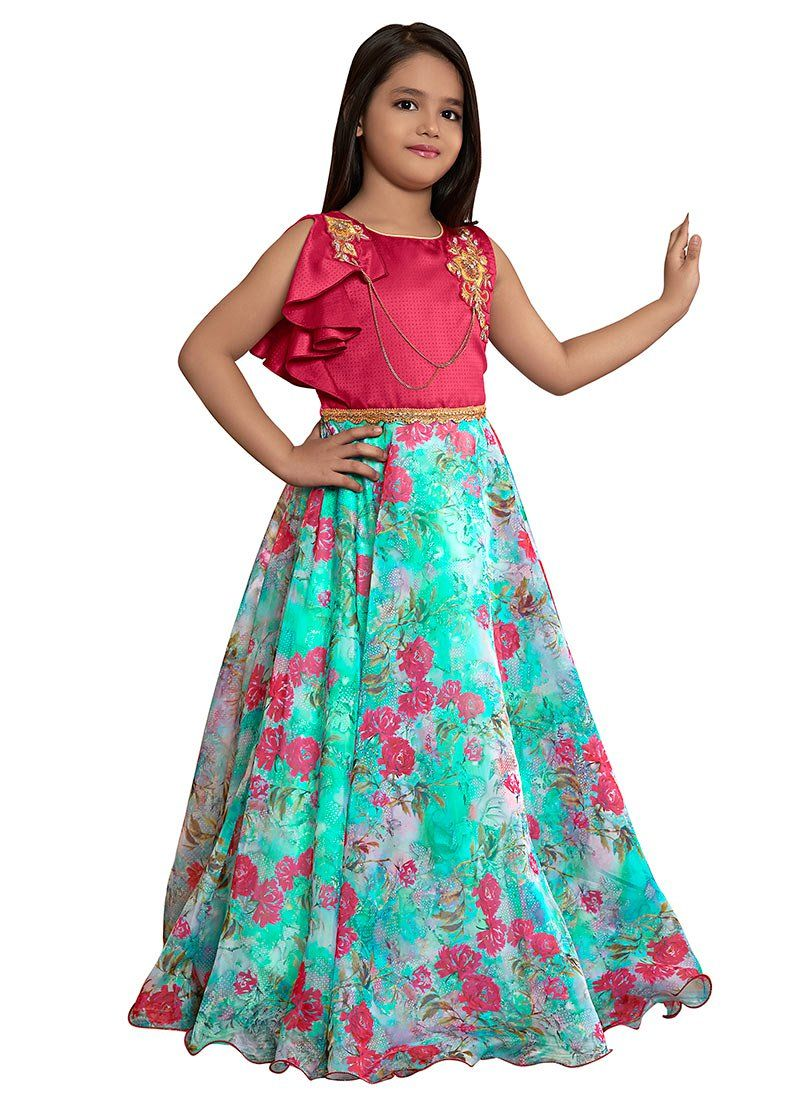 f39350e7f81 Buy Pink N Blue Printed Gown online, SKU Code: KDDTK5741. This Blue ...
