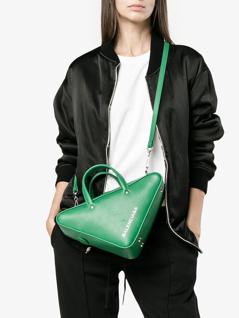 Triangle Duffle Printed Textured-leather Tote - Green Balenciaga fqAouD