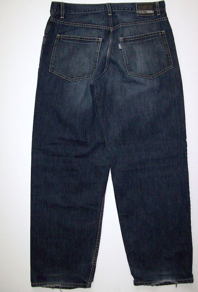 12a008ea Mens Levis Silver Tab Baggy Jeans Tag Size 30 X 32 Dark Wash Distressed Hems  #Levis #BaggyLoose