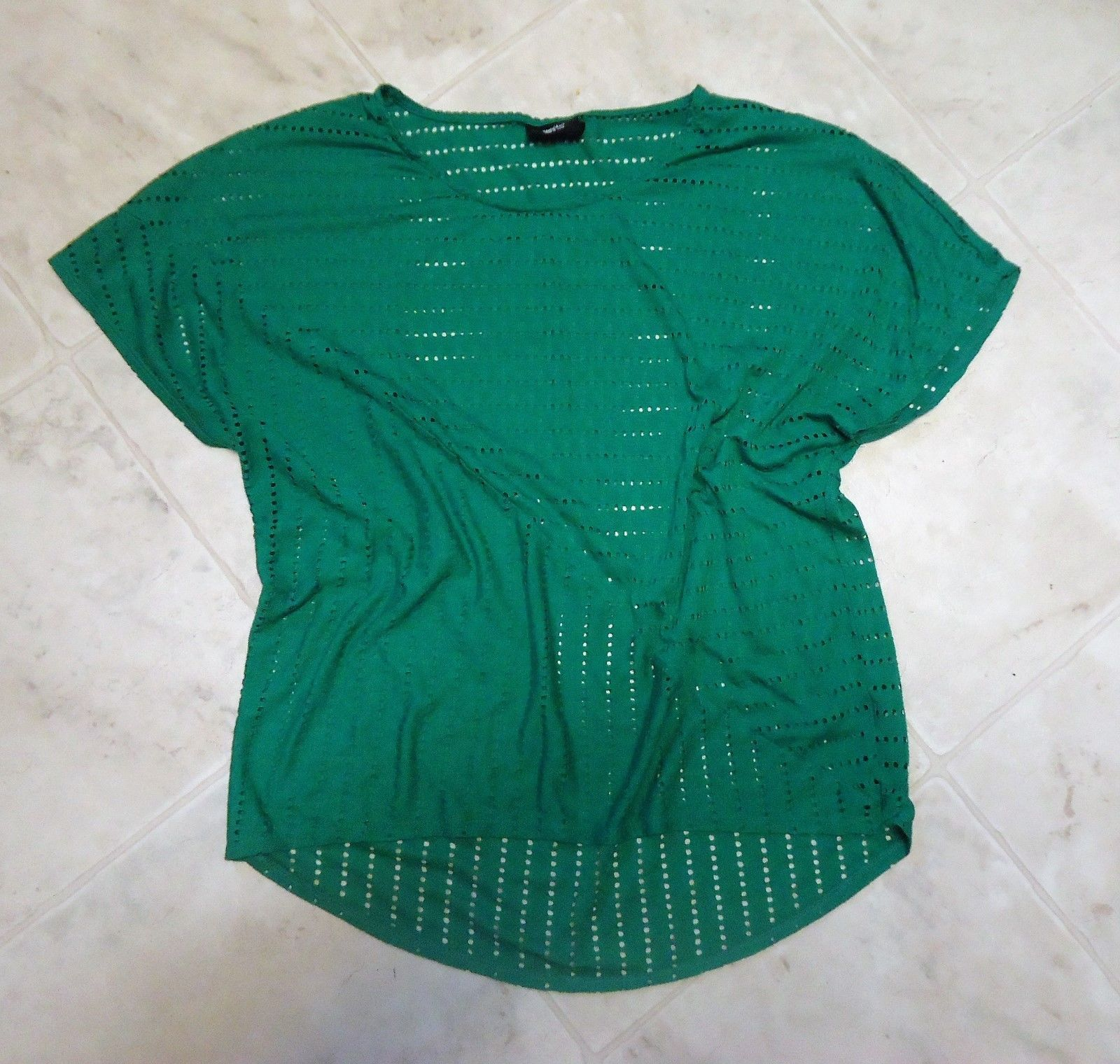 Misses Merona Green dotted holes Tee Large