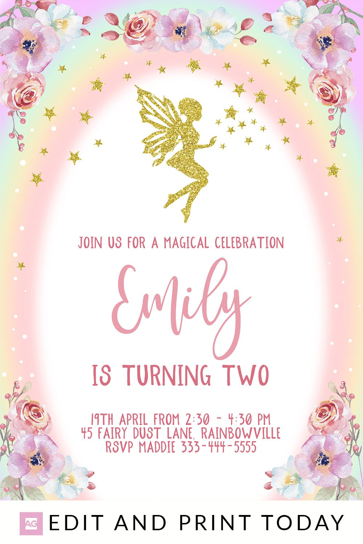 Fairy Birthday Invitation, INSTANT DOWNLOAD, Fairy Invites