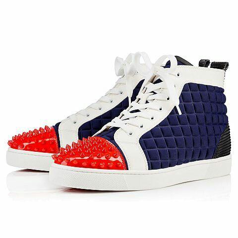 promo code 2e673 ae9ac Louboutin Lou Spikes Men's Flat #red #rubber #blue #white ...