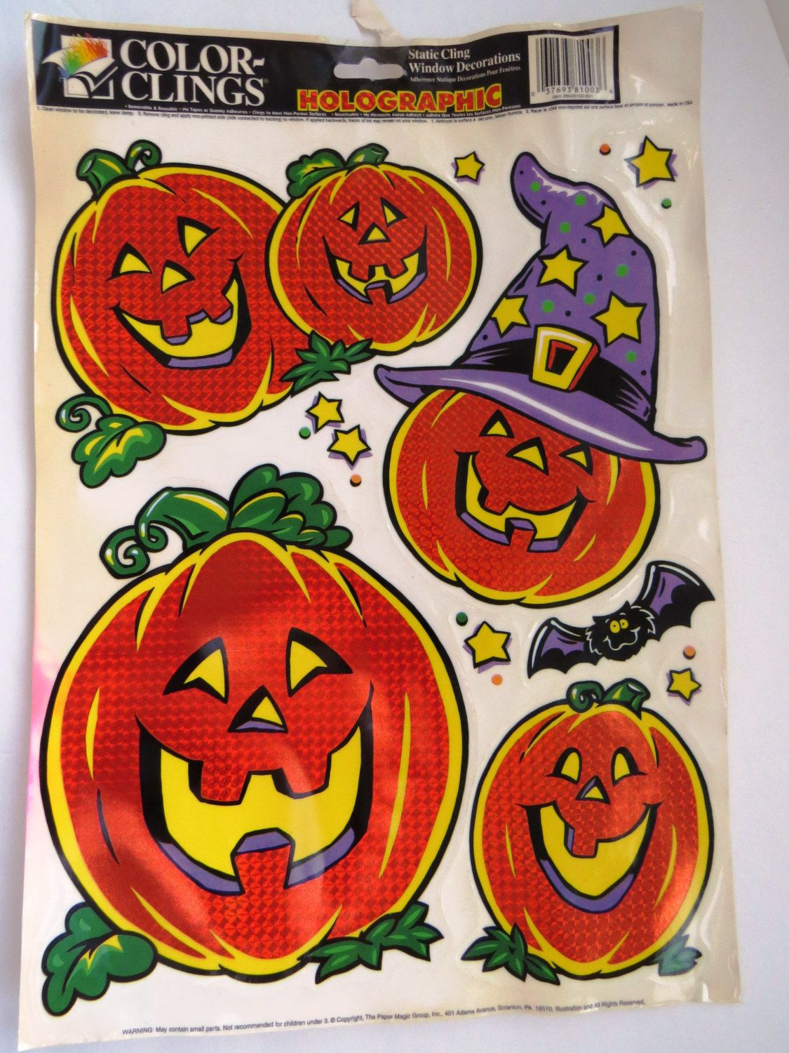 holographic halloween window clings static cling window decorations jack o lanterns bat - Halloween Window Clings
