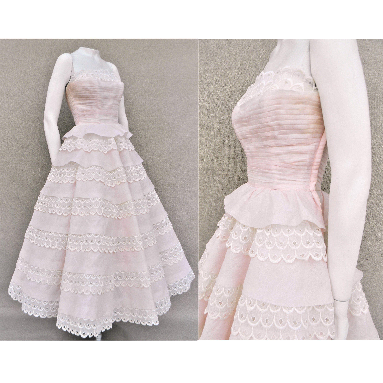 Vintage 50's Cotillion Pink White Prom Bridesmaid Formal