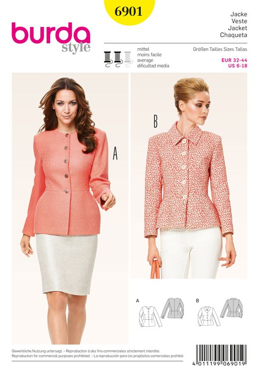 Misses Jacket Burda Sewing Pattern No. 6901. Size 6-18. | Sewing ...