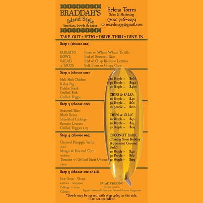Braddah's Island Style - catering menu