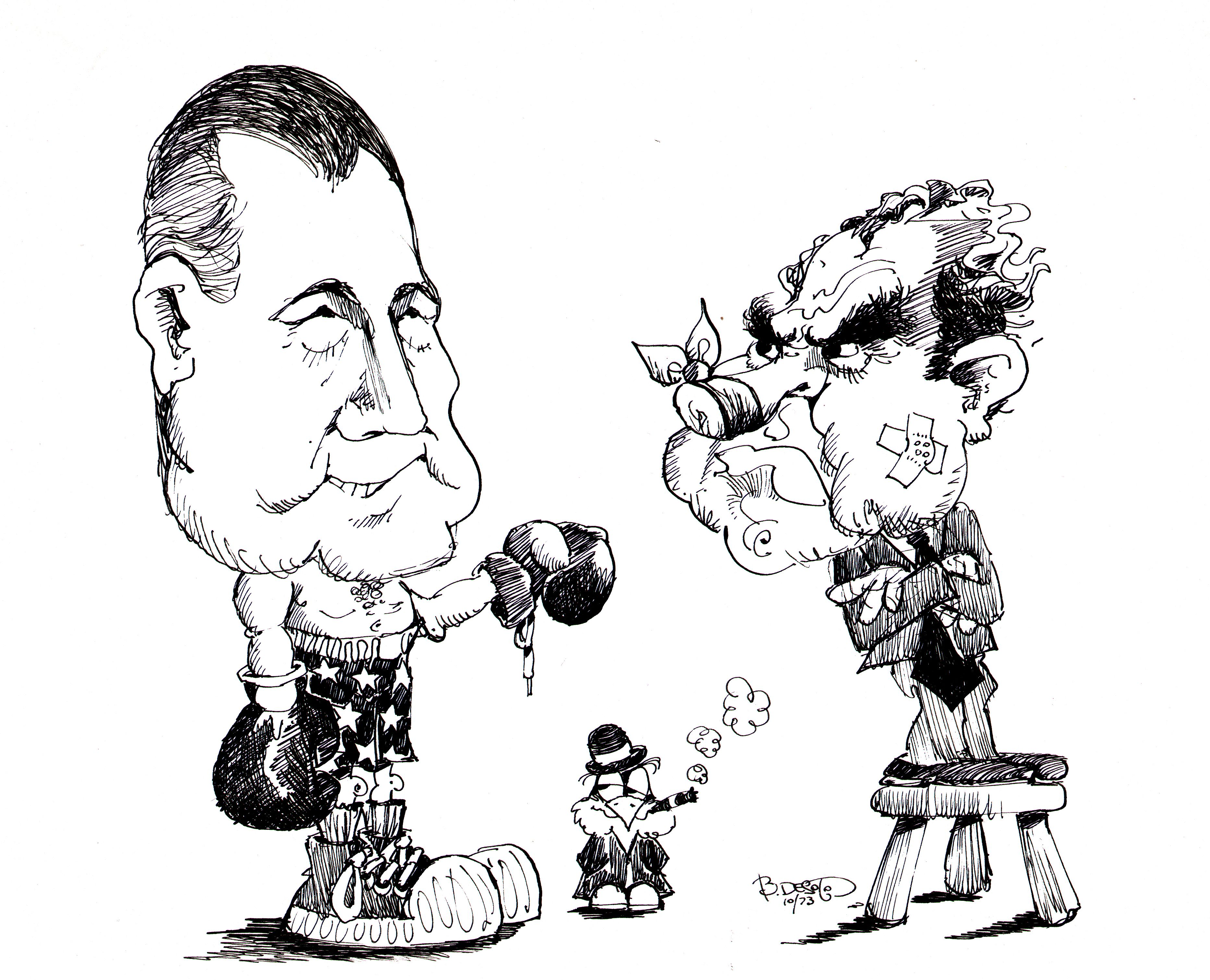 Spiro Agnew and Richard Nixon political cartoon from 1973