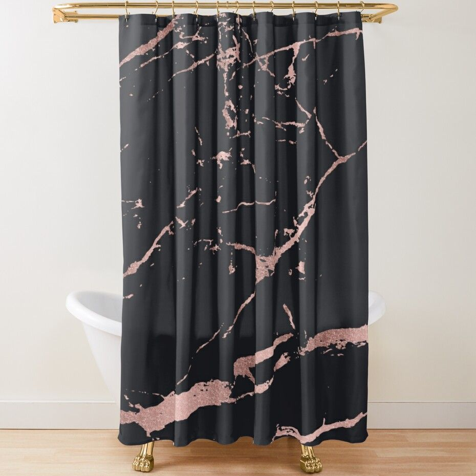 black and rose gold faux marble stone shower curtain by artonwear in 2021 rose gold room decor rose gold bedroom decor rose gold shower curtain