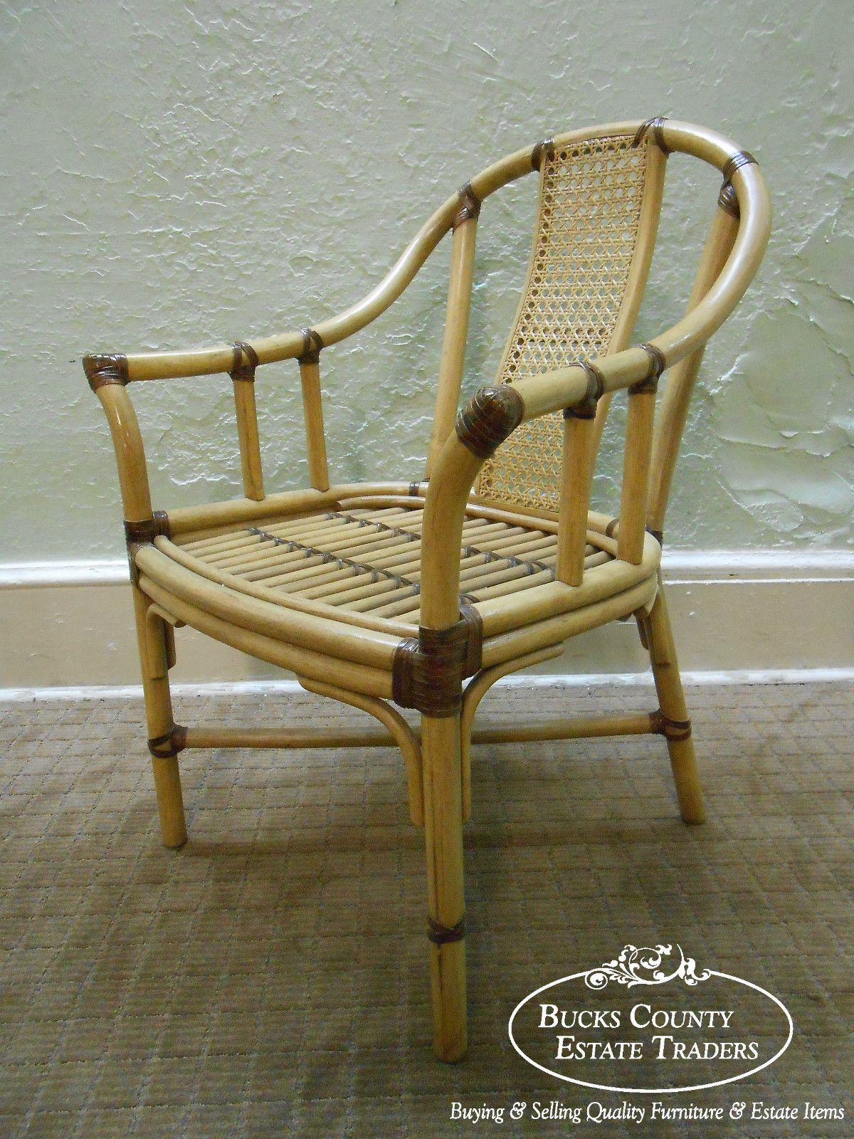 Bamboo Rattan Dining Arm Chairs