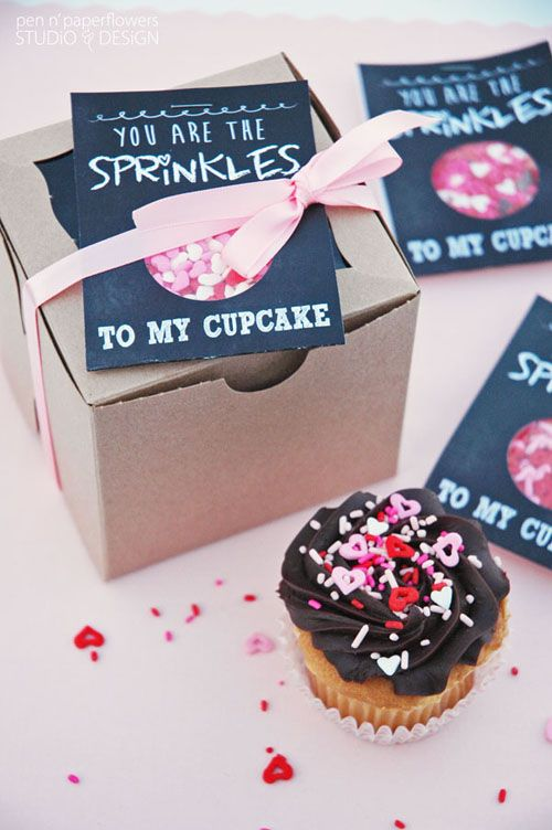 Sprinkles to my Cupcake | Printable Chalkboard Art Valentine's Day Cards | Skip to my Lou