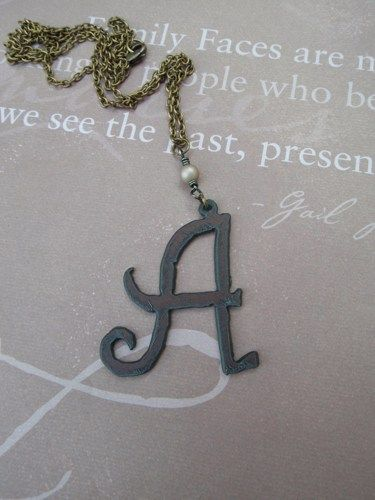 Rustic Iron Initial Letter Necklace Swarovski Pearl Antique Brass Necklace