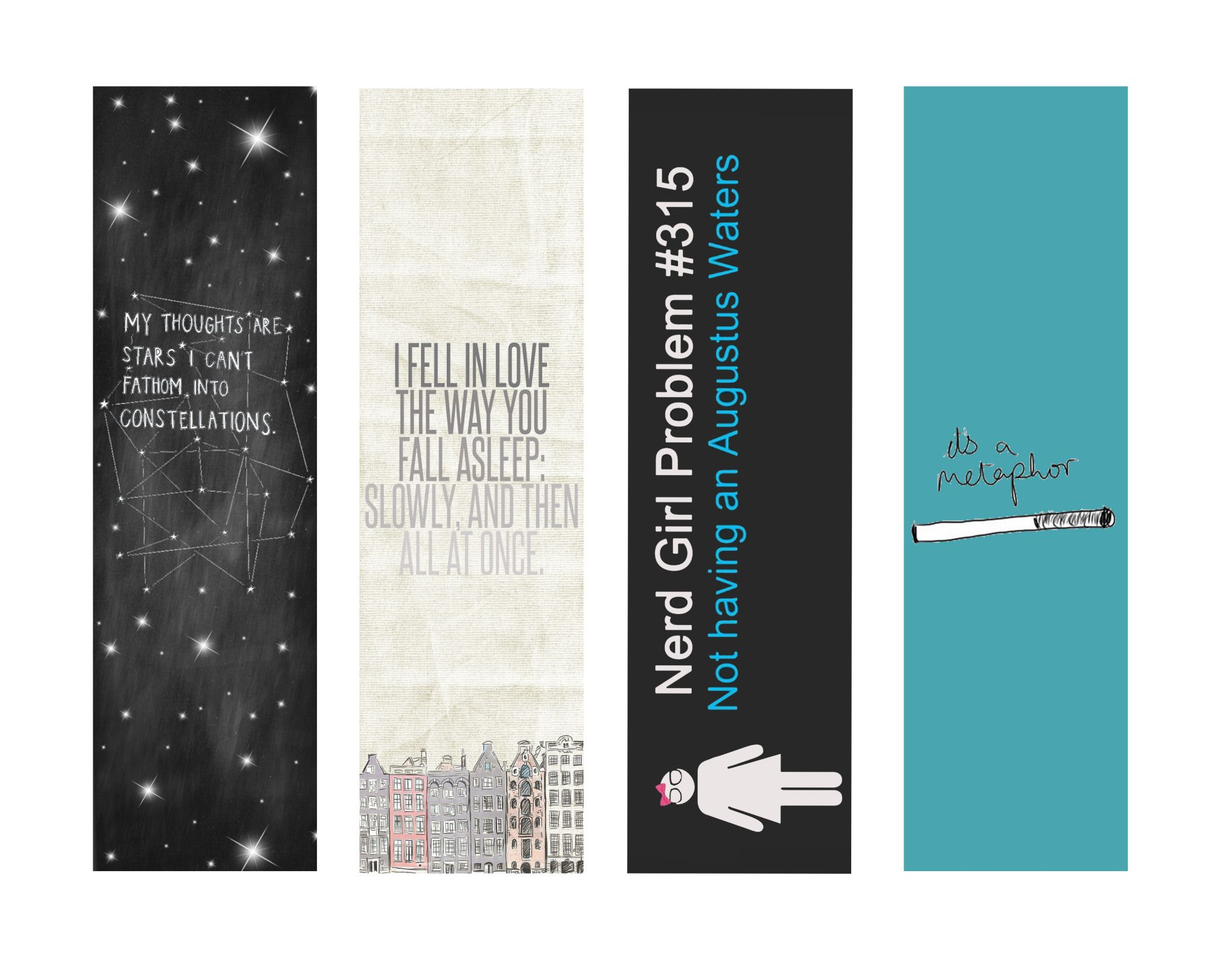 Bookmarks Star Bookmark Bookmarks Printable The Fault In Our Stars