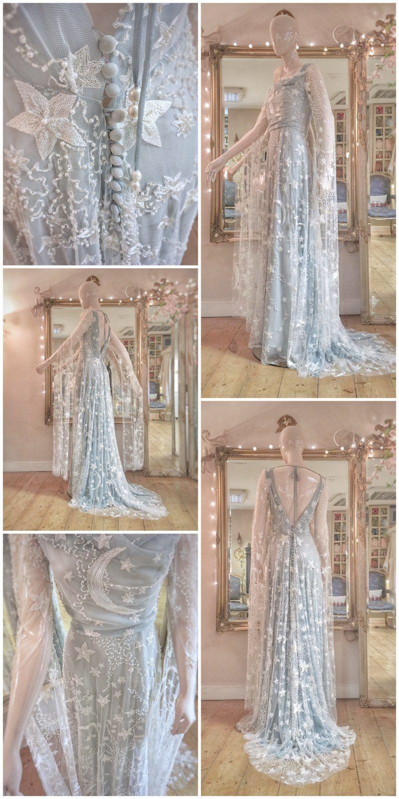 Hello Moon Star Embroidered Blue Wedding Dress Medieval Wedding Dress Embroidered Wedding Dress Fairy Tale Wedding Dress [ 1600 x 800 Pixel ]