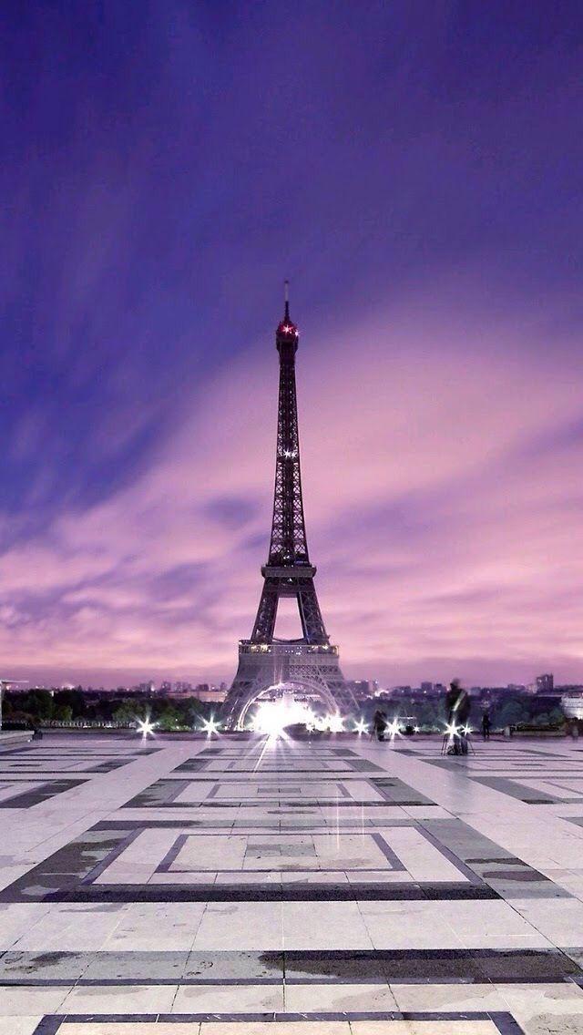 Paris eiffel tower twilight purple clouds great background for iphone we 39 ll always have paris - Paris tower live wallpaper ...