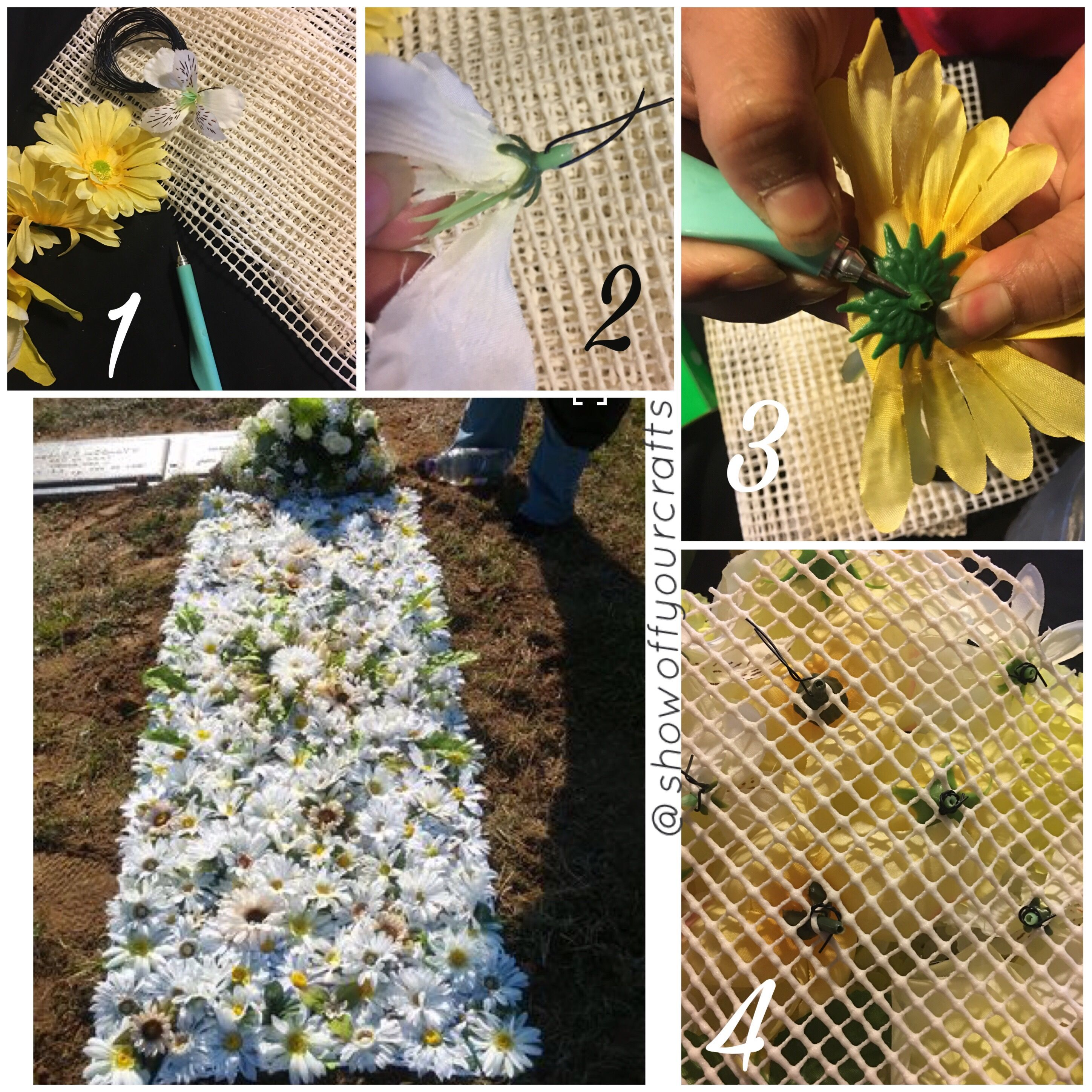 Flower Blanket Grave Blanket I Did For My Brother Step By Step Pinterest Inspired Headstones Decorations Grave Flowers Gravesite Decorations