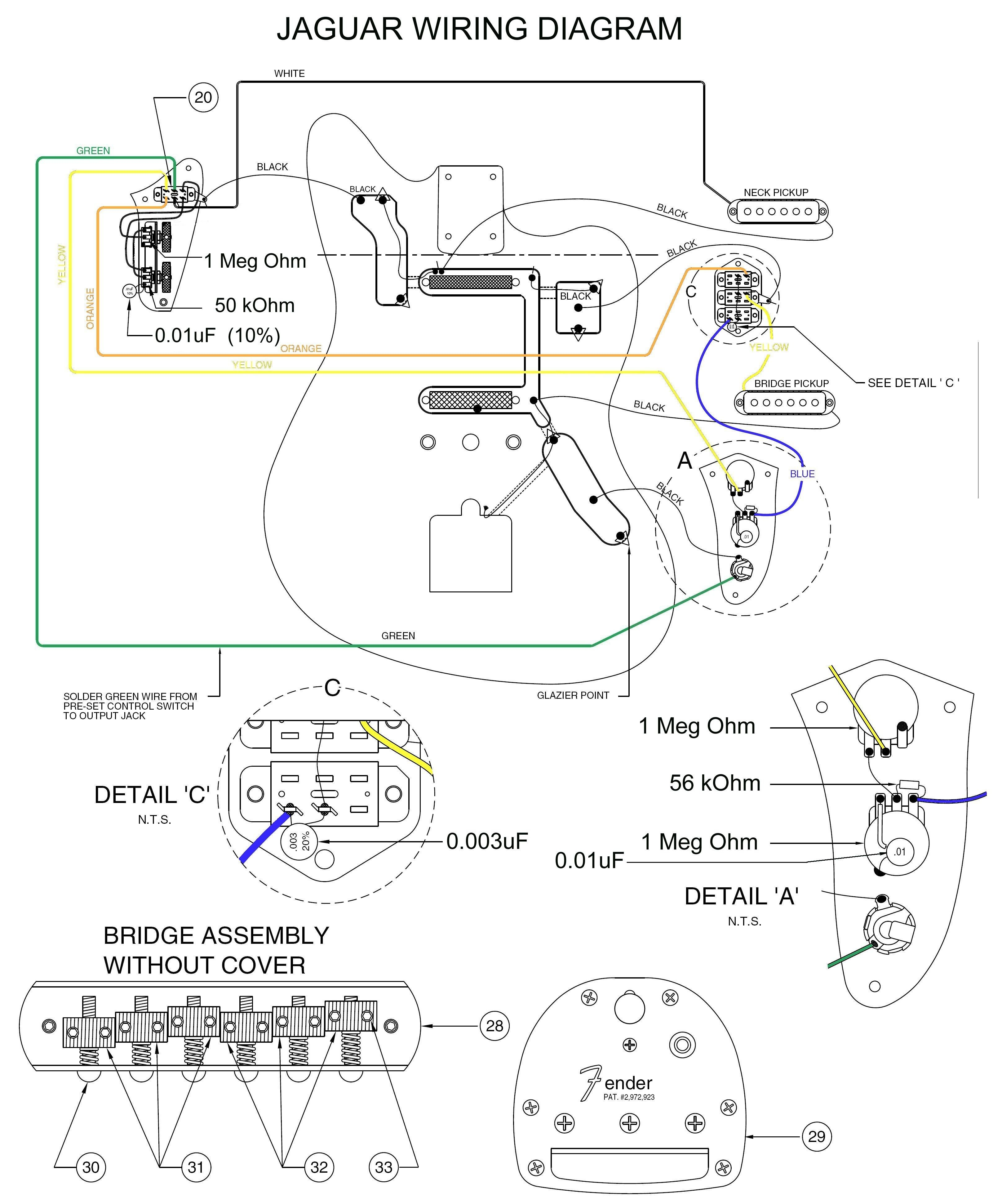 Fender Jaguar Wiring Diagram In 2020 Fender Jaguar Squier Fender Squier
