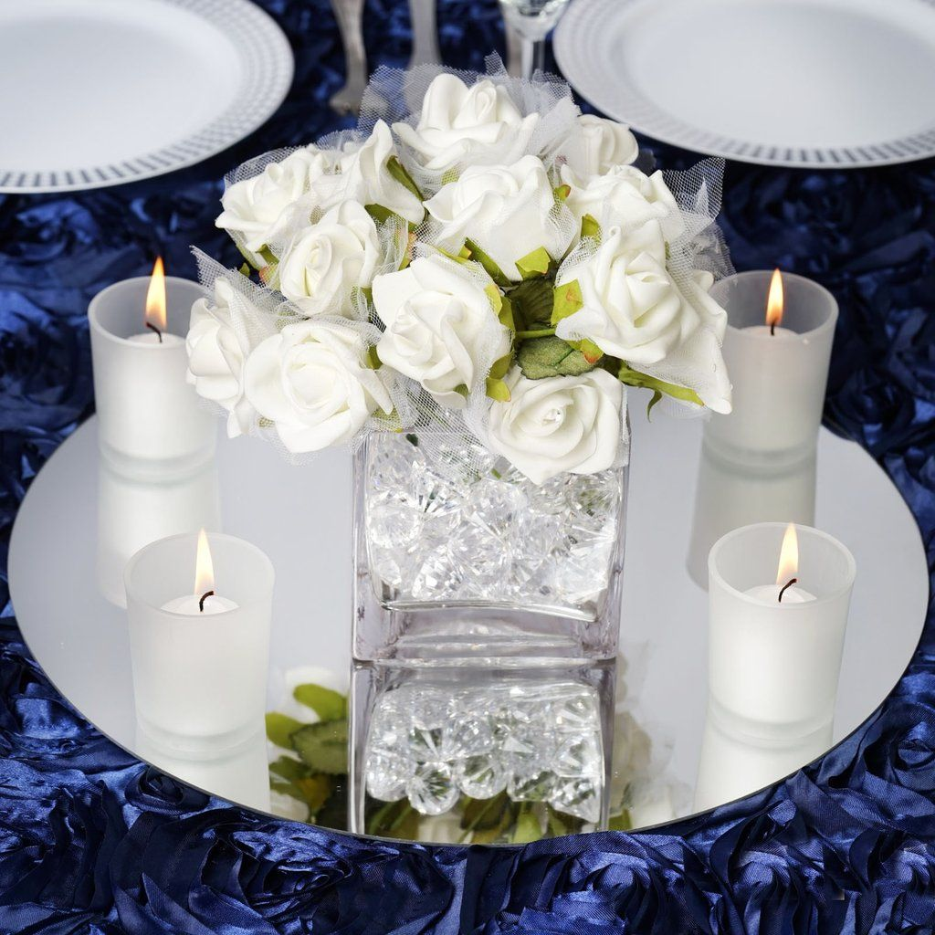 "Cheap Wedding Table Decorations Ideas: 4 Pack 14"" Round Glass Mirror Wedding Table Centerpiece"
