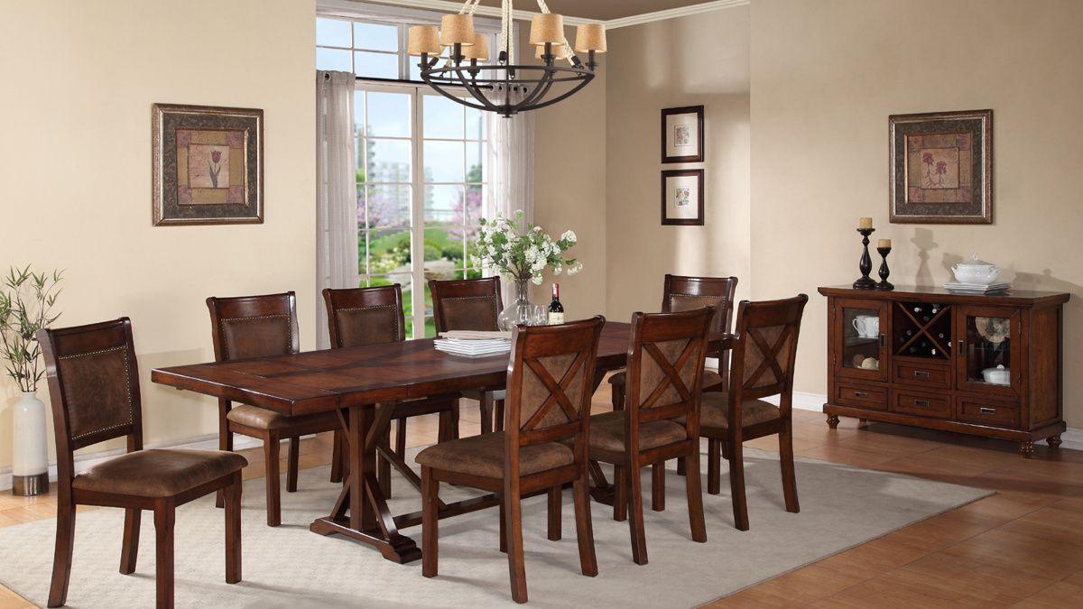 Goldie Light Brown Wood Pu Dining Room Set Brown Wood Dining