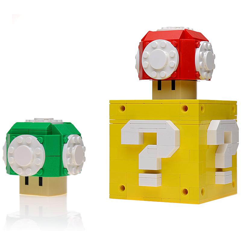 Instructions For Custom Lego Red Green Mushroom W Question Box Lego Super Mario Lego Models Custom Lego