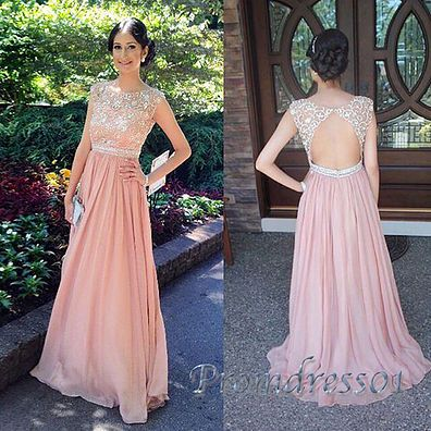 2016 cute pink chiffon prom dress with beautiful top, ball gown ...