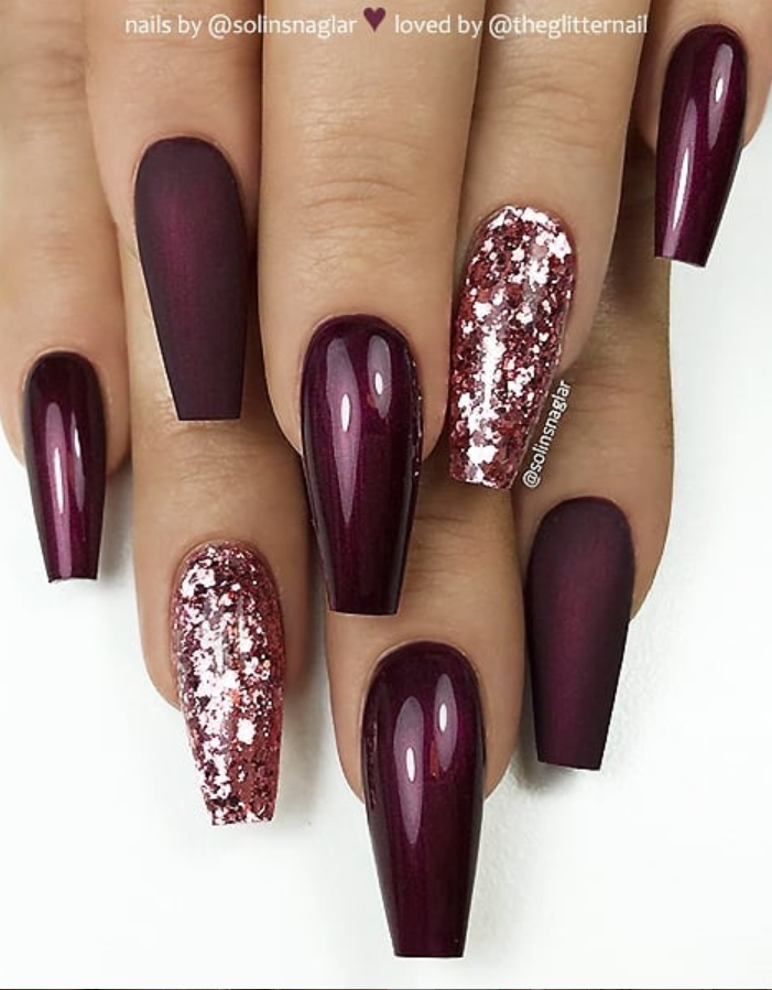 46 Elegant Acrylic Ombre Burgundy Coffin Nails Design For Short And Long Nails Fresh Nails Designs Coffin Nails Designs Coffin Nails Long