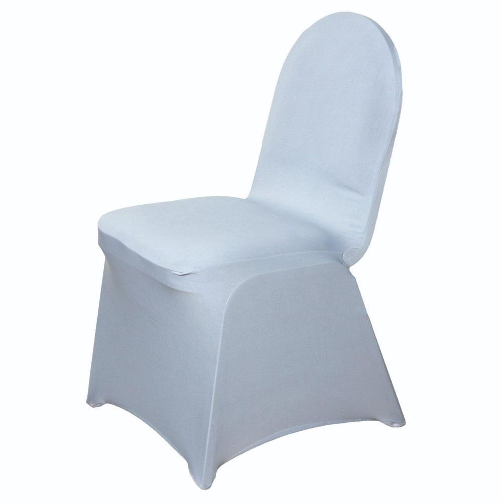 160 Gsm Silver Stretch Spandex Banquet Chair Cover With Foot