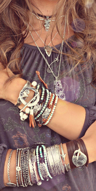 Bohemian Gypsy Stacked Bangle Bracelet Multi Color