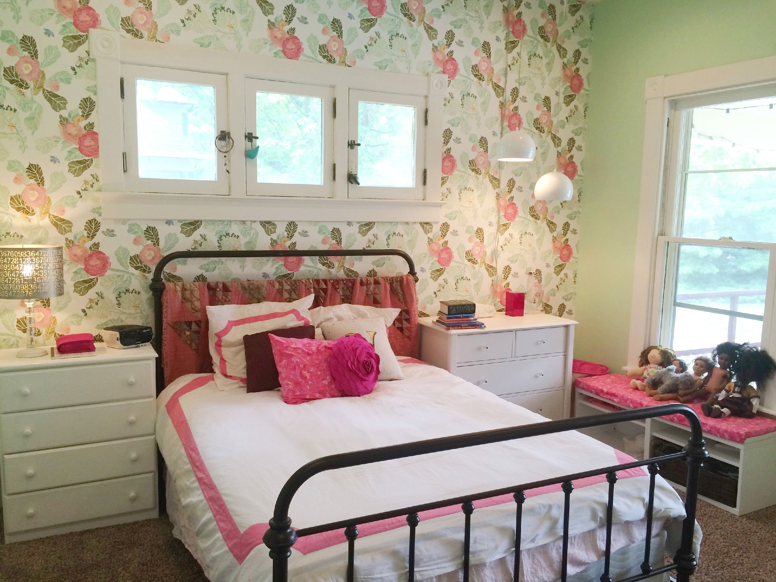 Watercolor peony wallpaper from Anthropologie lamp base and shade